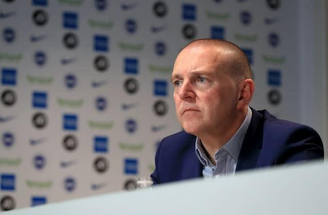 "Brighton chief executive Paul Barber says it would be ""illogical"" to restart football if it meant players had to be locked away to achieve it (Gareth Fuller/PA)"