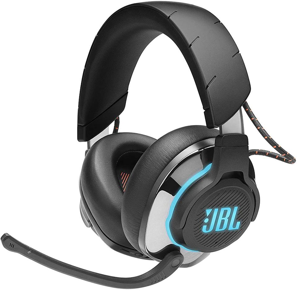 """<p><strong>JBL</strong></p><p>amazon.com</p><p><strong>$199.95</strong></p><p><a href=""""https://www.amazon.com/dp/B085RMDGP9?tag=syn-yahoo-20&ascsubtag=%5Bartid%7C10054.g.35034712%5Bsrc%7Cyahoo-us"""" rel=""""nofollow noopener"""" target=""""_blank"""" data-ylk=""""slk:Buy"""" class=""""link rapid-noclick-resp"""">Buy</a></p><p>Along with companies like Razer, Astro, and Steel Series, JBL is another trusty headset brand that gamers have been relying on for a while now. The Quantum 800, which has these fat, pillowy, memory foam cushions on a frame that lights up, delivers crystal-clear active noise cancellation, if you're stuck in a little apartment and need some form of escape. Like most of the offerings on the list here, they sport handy dials for balancing out the audio between chat and game soundtrack. I like the dials on these guys though–unlike the Pulse headset, which has toggle buttons, the controls on this headset are smooth and easy to fine-tune. They feature something called """"JBL Quantum Surround sound."""" I don't know exactly how JBL's tech runs alongside Sony's Tempest Engine, but whatever's going on there, it sounds very immersive. At $180, they're a little steep, but that memory foam...so comfy....</p>"""