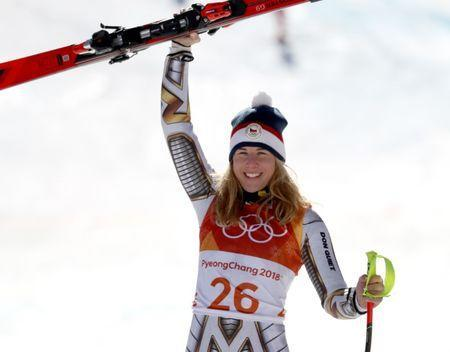 Feb 17, 2018; Pyeongchang, South Korea; Gold medal winner Ester Ledecka (CZE) reacts after competing in the alpine skiing Super-G event during the Pyeongchang 2018 Olympic Winter Games at Jeongseon Alpine Centre. Mandatory Credit: Jeff Swinger-USA TODAY Sports