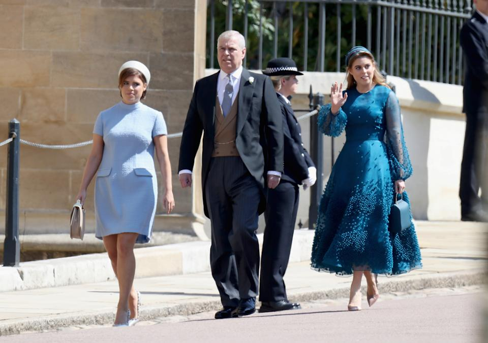 Princess Eugenie, Prince Andrew, Duke of York and Princess Beatrice attend the wedding of Prince Harry to Ms Meghan Markle at St George's Chapel, Windsor Castle on May 19, 2018 in Windsor, England. Prince Henry Charles Albert David of Wales marries Ms. Meghan Markle in a service at St George's Chapel inside the grounds of Windsor Castle. Among the guests were 2200 members of the public, the royal family and Ms. Markle's Mother Doria Ragland.  Chris Jackson/Pool via REUTERS