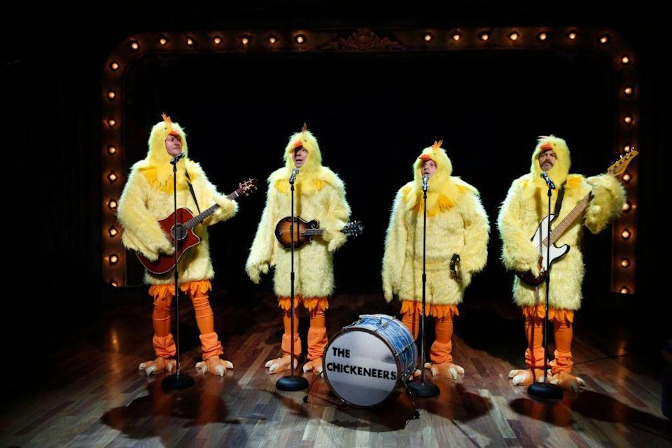"""<p>Blake, along with Jimmy Fallon, Chris Tartaro, and Nick Offerman, donned chicken costumes as The Chickeneers for a 2013 episode of <em>Late Night with Jimmy Fallon.</em> They performed """"Ho Hey"""" by The Lumineers, naturally.<br></p>"""