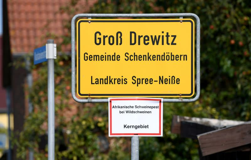 """The town sign of Gross Drewitz is seen with a note reading """"African swine fever in wild pigs, key area\"""