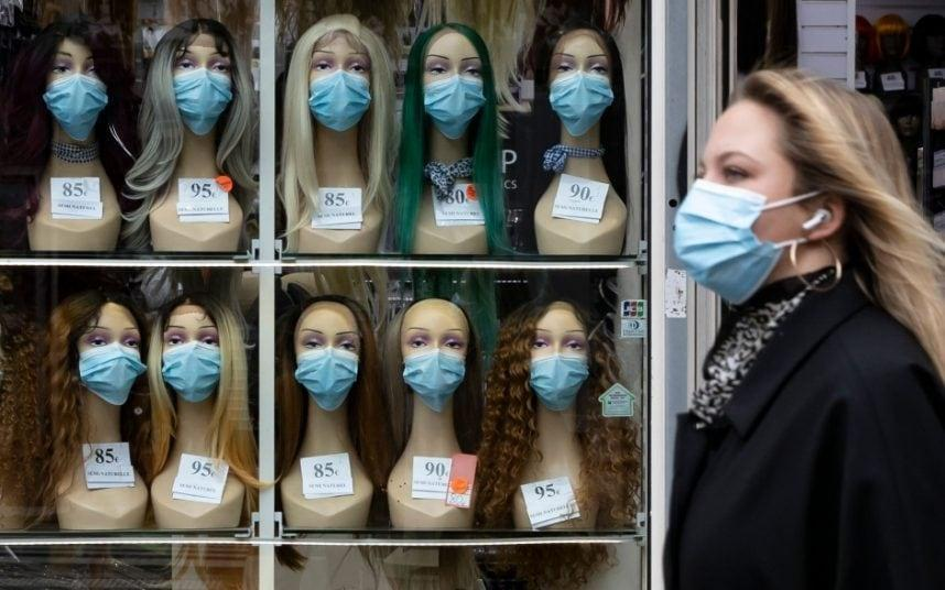 Masked mannequin heads in Paris, where residents are again told to stay at home - IAN LANGSDON/EPA-EFE/Shutterstock