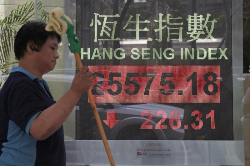 A worker walks past an electronic board showing Hong Kong share index outside a bank In Hong Kong, Monday, Oct. 15, 2018. Asian stocks slipped Monday, as investor worries continued about global trade tensions and prospects for economic growth. (AP Photo/Kin Cheung)