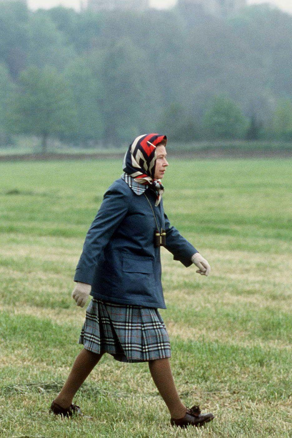<p>While she's all for coordinating jacket-skirt combos, the Queen isn't afraid to do a little bit of power clashing with her head-scarf choices.</p>