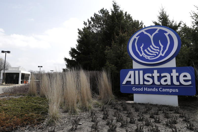 "Allstate Company sign is seen in front of Allstate company in Northbrook, Ill., Tuesday, April 7, 2020. Allstate said there have been fewer vehicle accidents during the COVID-19 pandemic as people stay home more to slow the spread of the virus. The Allstate ""Shelter-in-Place Payback"" will give more than $600 million in April and May for auto insurance customers. (AP Photo/Nam Y. Huh)"