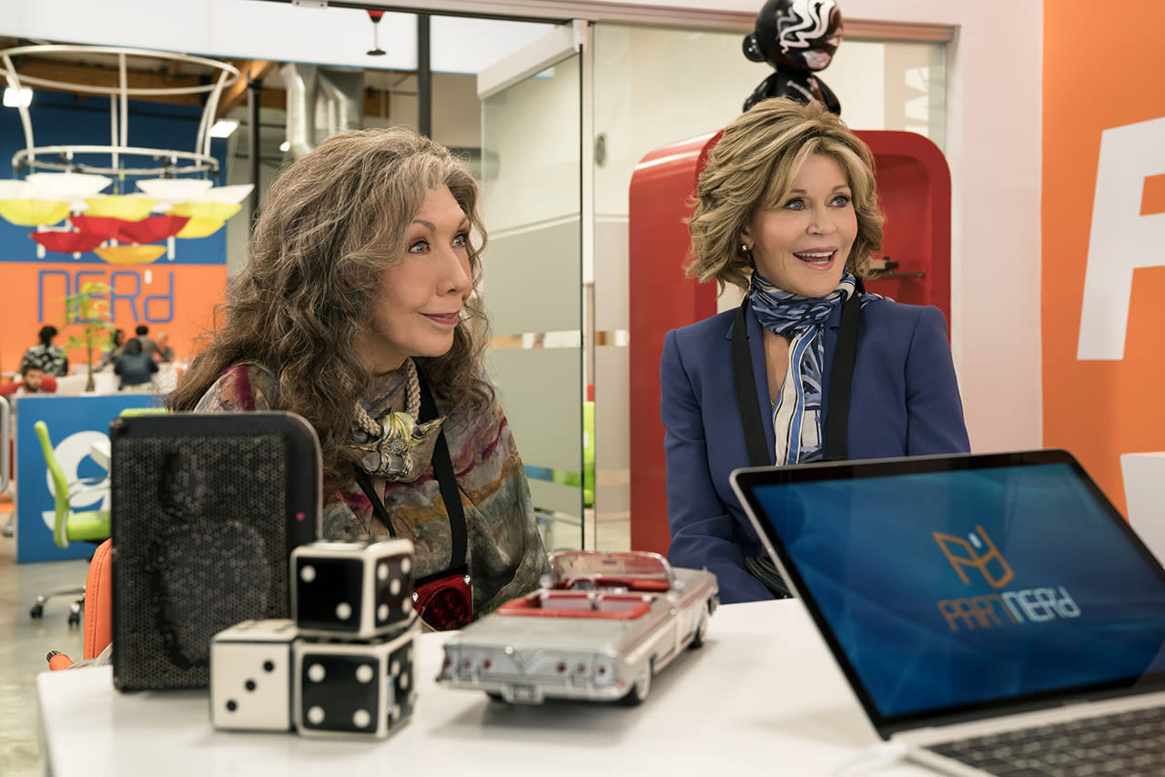 <p>Jane Fonda's co-star, Lily Tomlin, has been nominated twice before for Netflix's popular comedy series, but this is the first year that both Grace and Frankie will be in contention for Outstanding Lead Actress in a Comedy Series. Two acting legends are better than one, after all. <i>— EA</i><br /><br />(Photo: Netflix) </p>