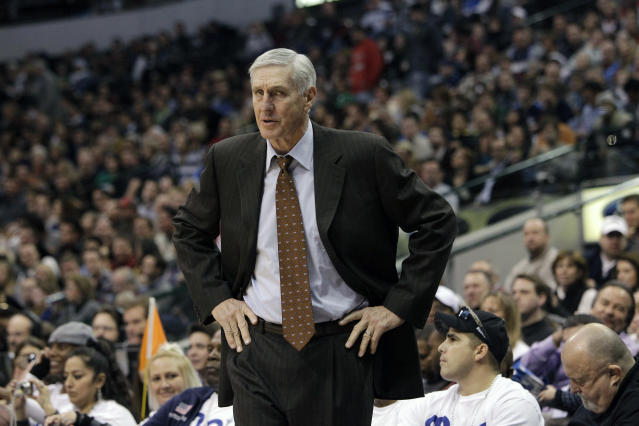 FILE - In this Dec. 11, 2010, file photo, Utah Jazz head coach Jerry Sloan is shown during an NBA basketball game against the Dallas Mavericks in Dallas. The Utah Jazz have announced that Jerry Sloan, the coach who took them to the NBA Finals in 1997 and 1998 on his way to a spot in the Basketball Hall of Fame, has died. Sloan died Friday morning, May 22, 2020, the Jazz said, from complications related to Parkinsons disease and Lewy body dementia. He was 78. (AP Photo/Tony Gutierrez, File)