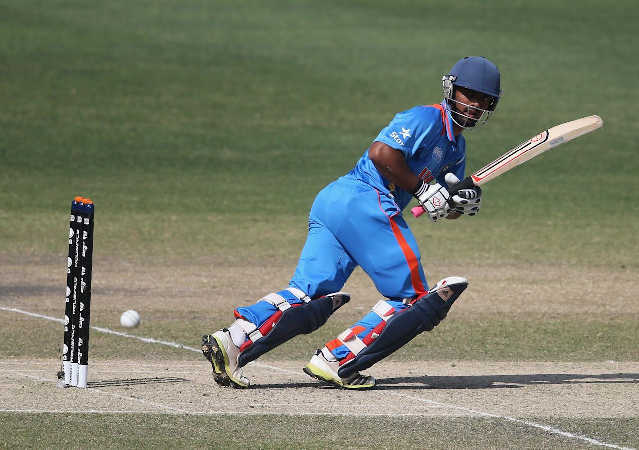 DUBAI, UNITED ARAB EMIRATES - FEBRUARY 22:  Vijay Zol of India bats during the ICC U19 Cricket World Cup 2014 Quarter Final match between England and India at the Dubai Sports City Cricket Stadium on February 22, 2014 in Dubai, United Arab Emirates.  (Photo by Francois Nel - IDI/IDI via Getty Images)