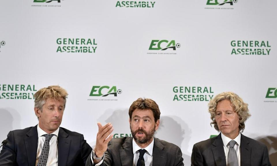 Andrea Agnelli at the ECA general assembly in 2019, flanked by Edwin van der Sar of Ajax and Dariusz Mioduski of Legia Warsaw