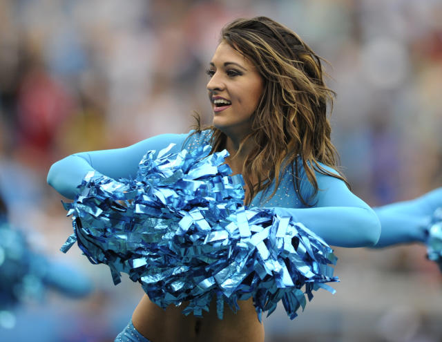 <p>A Carolina Panthers cheerleader performs in the first half of an NFL football game against the Atlanta Falcons in Charlotte, N.C., Sunday, Nov. 5, 2017. (AP Photo/Mike McCarn) </p>