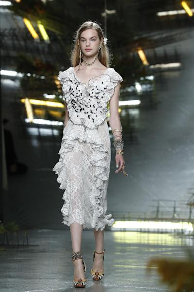 The Rodarte Spring 2017 collection is modeled during Fashion Week, Tuesday, Sept. 13, 2016, in New York. (AP Photo/Mary Altaffer)