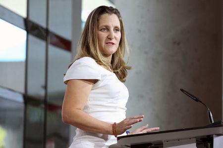 Canadian Foreign Minister Chrystia Freeland takes part in a news conference in Washington