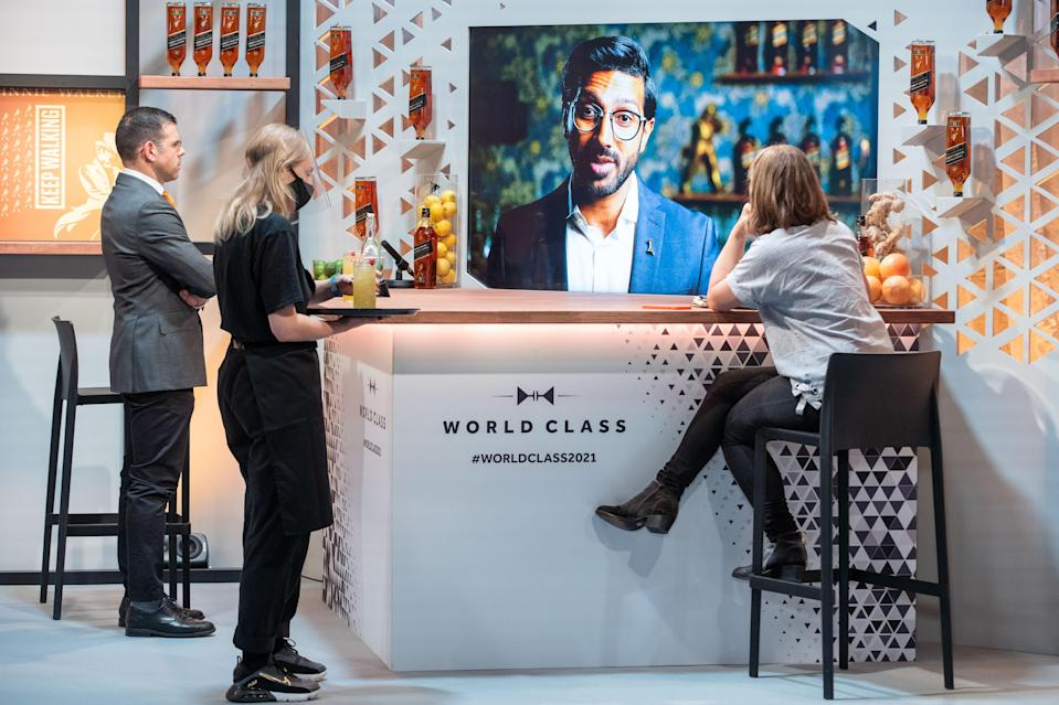 Judges watch a virtual presentation during the World Class Bartender of the Year finals 2021 (Jeff Moore/PA)