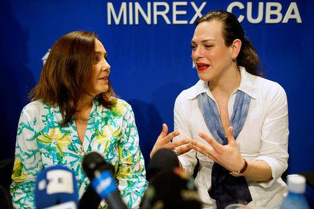 Mariela Castro, a lawmaker and director of the Cuban National Centre for Sex Education (CENESEX), National Assembly member and daughter of Cuba's President Raul Castro (L), speaks to actor Daniela Vega, from Chile, during a news conference in Havana, Cuba, May 3, 2017. REUTERS/Alexandre Meneghini