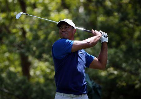 May 16, 2019; Bethpage, NY, USA; Tiger Woods plays his shot from the eighth tee during the first round of the PGA Championship golf tournament at Bethpage State Park - Black Course. Mandatory Credit: Peter Casey-USA TODAY Sports