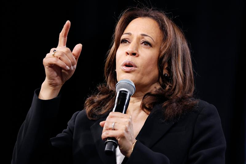 Sen. Kamala Harris, D-Calif., speaks at a forum on labor issues in Las Vegas on April 27. (Photo: AP/John Locher)