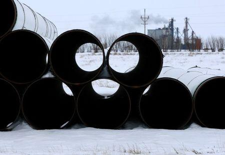 FILE PHOTO: A depot used to store pipes for Transcanada Corp's planned Keystone XL oil pipeline is seen in Gascoyne, North Dakota, January 25, 2017.  REUTERS/Terray Sylvester