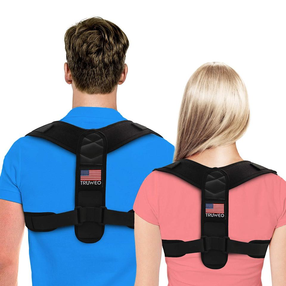 "<h2>Posture Brace</h2> <br><strong>Will Support: Neck, Back, & Shoulders</strong><br>If you've been distracted by the thought that your colleague is wearing a backpack during your weekly Zoom calls, they're probably wearing this. The #1 Bester Seller on Amazon posture corrector is actually just an upper-back brace that is designed to adjust to your body for supporting and providing relief to your neck, back, and shoulders.<br><br><strong>Supported Say: </strong>""I work from home on the computer so my posture has taken a major toll over the years! I have started to develop the dreaded 'computer hump' due to my hunched over posture. I have also been experiencing upper back pain for several years, mainly due to being hunched over a keyboard all day. I did some research online and came across these posture correctors. Seemed simple enough, I figured why not? It did take some getting used to as my body is obviously quite used to its ugly, incorrect posture!!! There was a little soreness the first few times I wore it but that quickly went away. Now I find that my back pain almost completely goes away when I am wearing this!!! After several weeks, I find myself sitting up straighter at the computer and I don't have NEARLY as much back pain as I did before. I am really hoping that over time, this will help correct my little computer hump. :) Only time will tell!"" <em>– 4catsforme, <a href=""https://amzn.to/2WS5yQA"" rel=""nofollow noopener"" target=""_blank"" data-ylk=""slk:Amazon"" class=""link rapid-noclick-resp"">Amazon</a> Reviewer</em><br><br><br><strong>Truweo</strong> Adjustable Upper Back Brace, $, available at <a href=""https://amzn.to/3czKpBw"" rel=""nofollow noopener"" target=""_blank"" data-ylk=""slk:Amazon"" class=""link rapid-noclick-resp"">Amazon</a><br><br><br><br><br>"