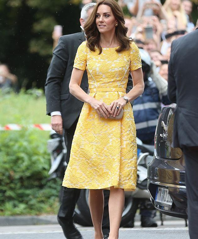 Kate can discreetly avoid shaking hands. Photo: Getty