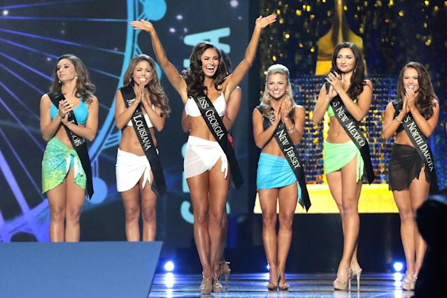 The swimsuit portion of the Miss America pageant on Sept. 7, 2017, in Atlantic City, N.J. (Photo: Donald Kravitz/Getty Images for Dick Clark Productions)