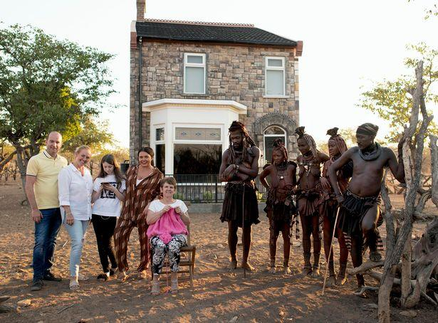 The Moffatt family with the Himba Tribe on The Bristish Tribe Next Door (PA)