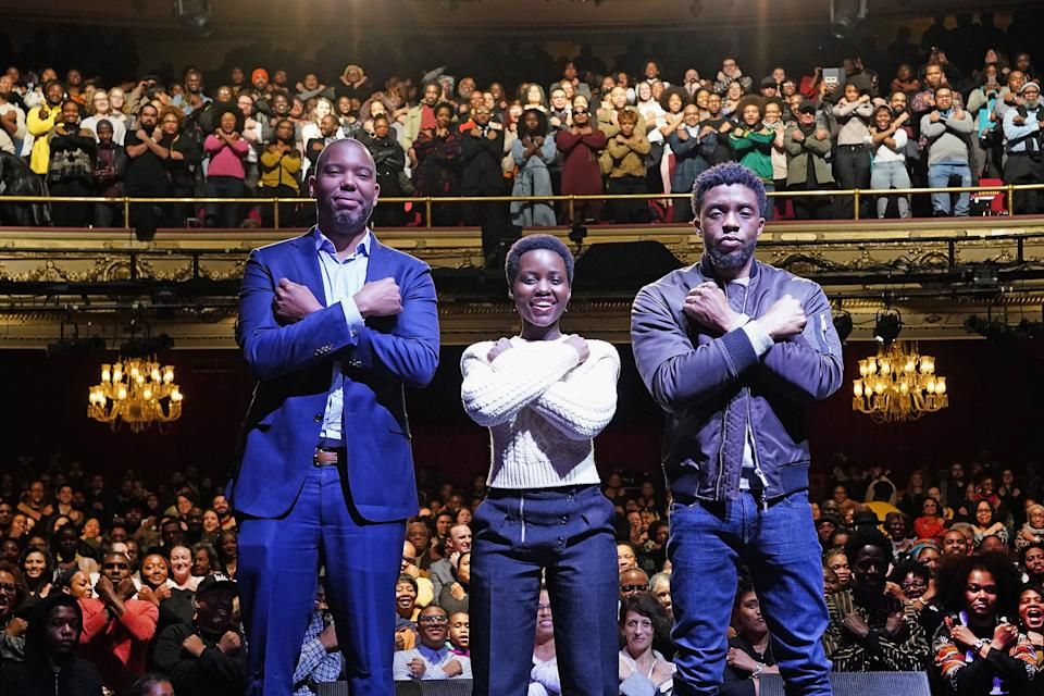 NEW YORK, NY - FEBRUARY 27:  (L to R): Author Ta-Nehisi Coates with Black Panther stars Chadwick Boseman, Lupita Nyong'o at The Apollo Theater on February 27, 2018 in New York City.  (Photo by Shahar Azran/WireImage)