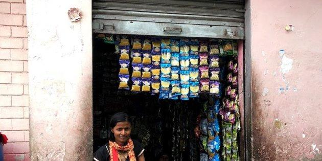 Krishna works as an Internet Saathi in Basai Nawab, near Dholpur, teaching other villagers how to use the Internet. She agreed to have her picture taken along with her shop, which she set up with her earnings as an Internet Saathi.