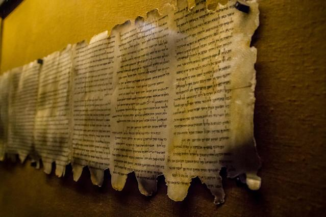 Dead Sea Scrolls parchments on display in Israel. (Getty)