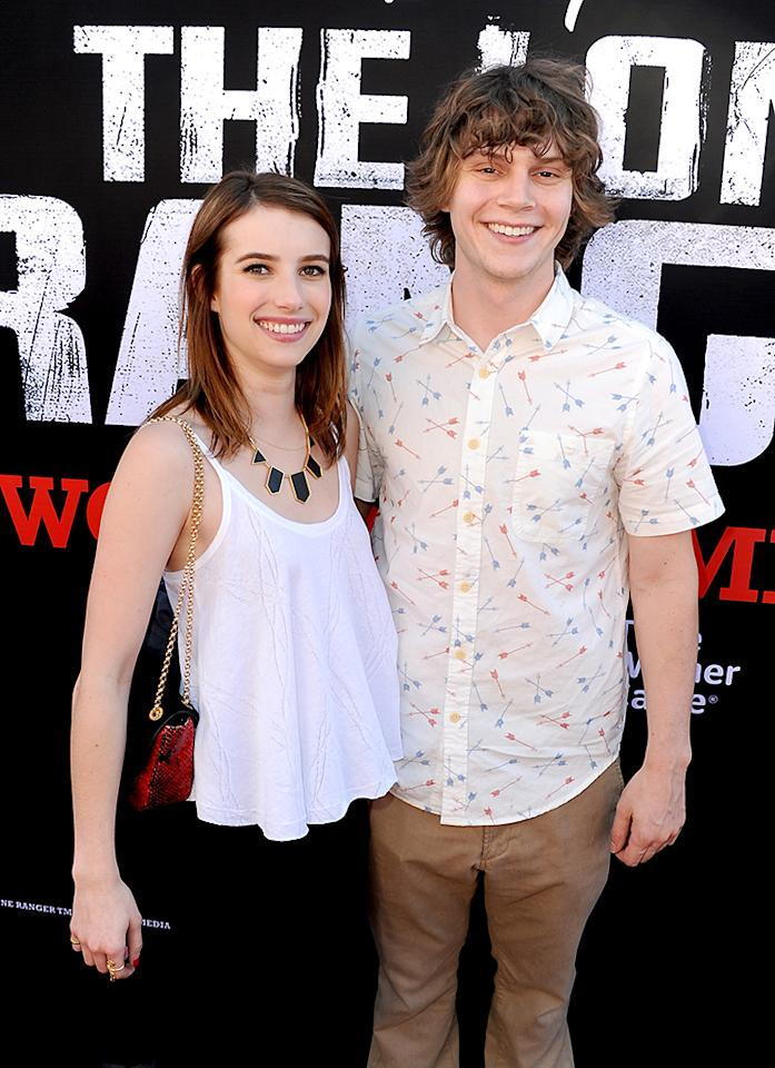 "ANAHEIM, CA - JUNE 22:  Actors Emma Roberts (L) and Evan Peters arrive at the premiere of Walt Disney Pictures' ""The Lone Ranger"" at Disney California Adventure Park on June 22, 2013 in Anaheim, California.  (Photo by Kevin Winter/Getty Images)"