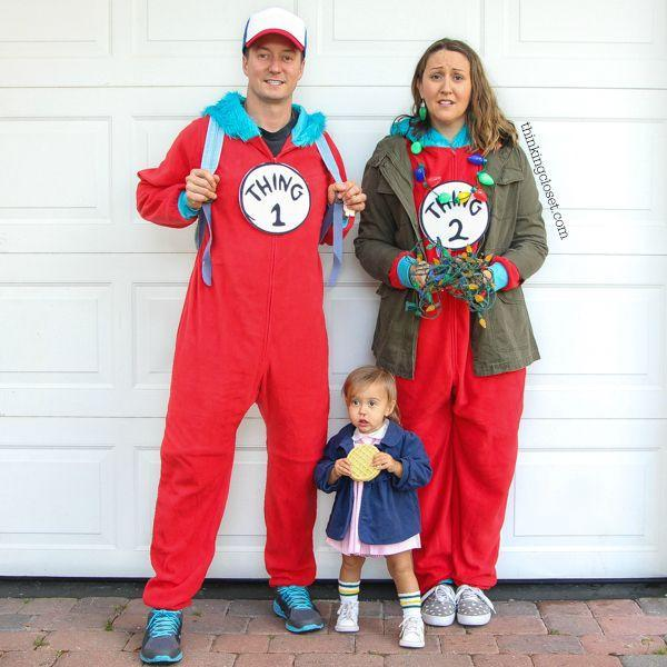 """<p>Love puns and <em>Stranger Things?</em> Look no further than this hilarious idea for family costumes. Dressed as Dr. Seuss' Thing 1 and Thing 2, you can add accessories like a trucker hat and Christmas light necklace to depict characters from the show—and dress up the tiniest member of your party as Eleven. </p><p><strong>Get the tutorial at <a href=""""https://www.thinkingcloset.com/2017/10/23/stranger-things-punny-halloween-costume/"""" rel=""""nofollow noopener"""" target=""""_blank"""" data-ylk=""""slk:The Thinking Closet"""" class=""""link rapid-noclick-resp"""">The Thinking Closet</a>. </strong></p><p><a class=""""link rapid-noclick-resp"""" href=""""https://www.amazon.com/Windy-City-Novelties-Original-Christmas/dp/B0164L0Z9O/?tag=syn-yahoo-20&ascsubtag=%5Bartid%7C10050.g.29398849%5Bsrc%7Cyahoo-us"""" rel=""""nofollow noopener"""" target=""""_blank"""" data-ylk=""""slk:SHOP CHRISTMAS LIGHT NECKLACES"""">SHOP CHRISTMAS LIGHT NECKLACES</a></p>"""