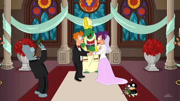 """Fry and Leela get married in the finale of the animated sci-fi series """"Futurama,"""" which aired Sept. 4, 2013."""