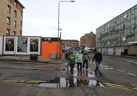 Celtic fans walk from Celtic Park after the last match of the season against Heart of Midlothian, Glasgow, Scotland,Britain, May 21, 2017. Picture taken May 21, 2017 REUTERS/Paul Hackett