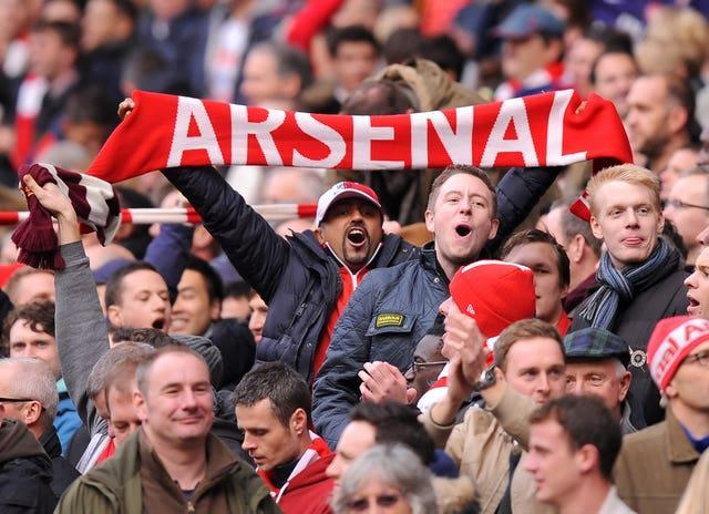 Arsenal fans at a game against Tottenham