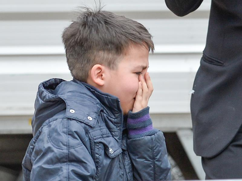 Emanuele cries during an encounter with Pope Francis on April 15. (NurPhoto via Getty Images)