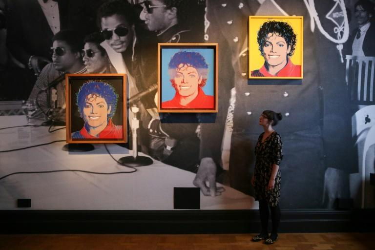 """Andy Warhol's """"Michael Jackson"""" at the June 2018 show at London's National Portrait Gallery (AFP Photo/Daniel LEAL-OLIVAS)"""