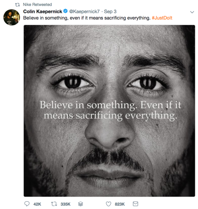 Kaepernick tweeted an image from the new ad campaign. Nike retweeted him. (Photo: screenshot/Twitter/@Nike)