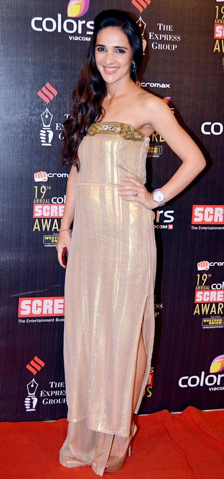 Tara Sharma wore a shimmery nude gown to an award function.