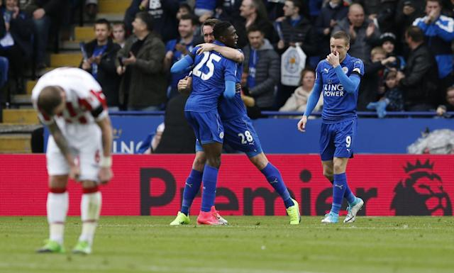 <p>Leicester City's Wilfred Ndidi celebrates scoring their first goal </p>