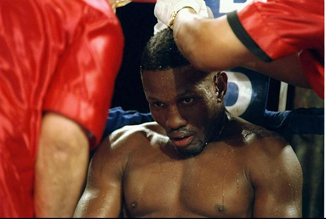 Pernell Whitaker sits in his corner during a fight against Wilfredo Rivera at the James L. Knight Center in Miami, Florida. Whitaker won the fight in twelve rounds. Mandatory Credit: Al Bello /Allsport