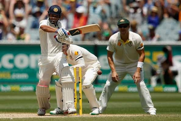 MELBOURNE, AUSTRALIA - DECEMBER 28: Ajinkya Rahane of India of India plays a pull shot during day three of the Third Test match between Australia and India at Melbourne Cricket Ground on December 28, 2014 in Melbourne, Australia. (Photo by Darrian Traynor/Getty Images)