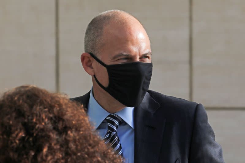 Attorney Michael Avenatti arrives for the opening of his trial on charges of cheating his clients out of settlement money, at the United States Courthouse in Santa Ana