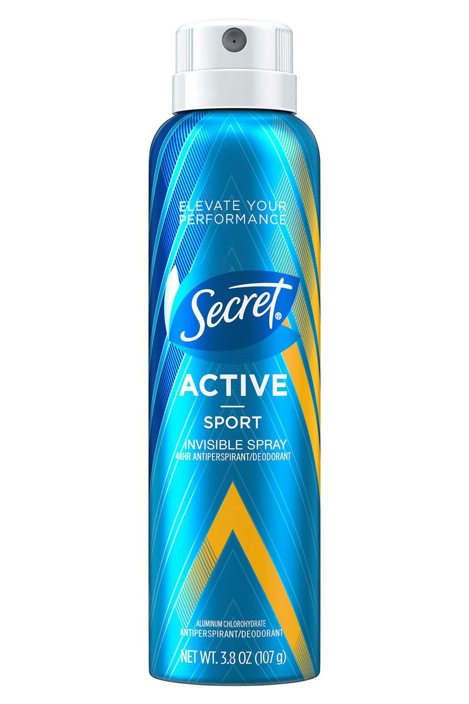 """<p>Bye-bye sweat stains, hello all-day freshness. </p><p>Secret Active Invisible Spray in Sport, $5, <a href=""""https://www.target.com/p/secret-active-sport-invisible-spray-antiperspirant-and-deodorant-3-8oz/-/A-52733686"""" rel=""""nofollow noopener"""" target=""""_blank"""" data-ylk=""""slk:target.com"""" class=""""link rapid-noclick-resp"""">target.com</a></p>"""