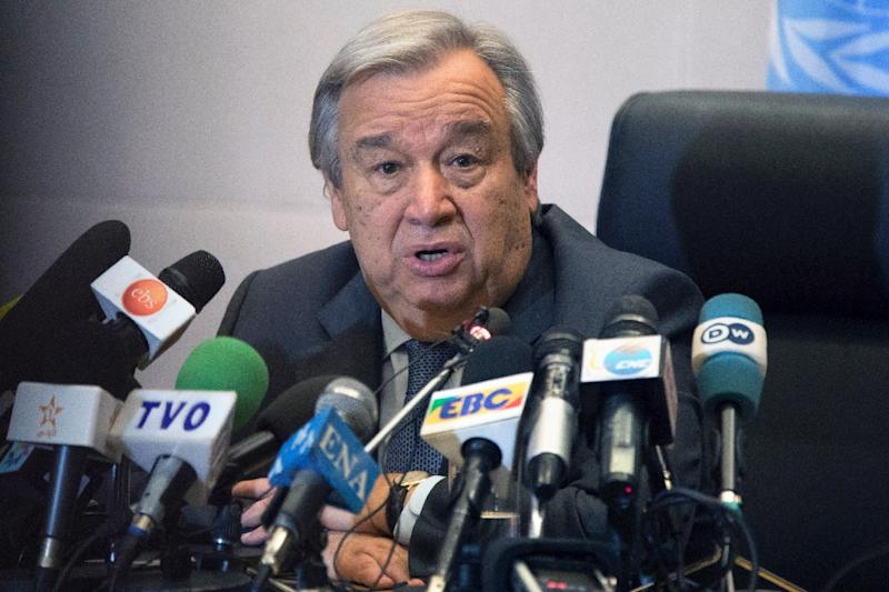 United Nations Secretary General Antonio Guterres gives a press conference on the sidelines of the 28th Ordinary Session of the Assembly of the African Union summit in Addis Ababa on January 30, 2017 (AFP Photo/ZACHARIAS ABUBEKER)