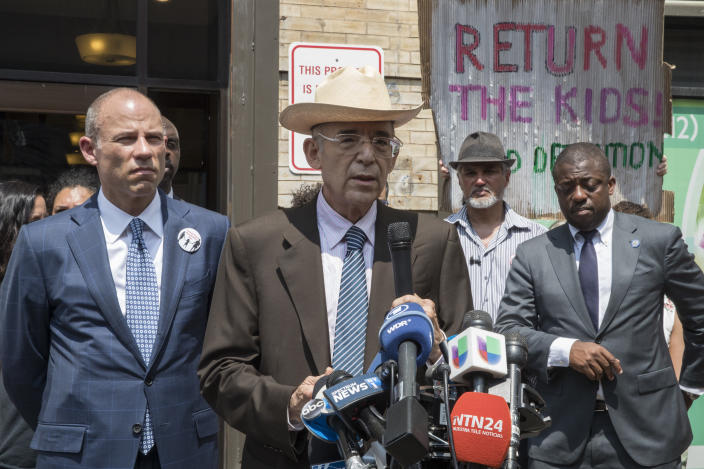 """<span class=""""s1"""">Michael Avenatti and Ricardo de Anda speak to reporters in New York on July 11. Avenatti represents two Honduran girls shipped to New York after being separated from their parents at the Mexico border. (AP Photo/Mary Altaffer)</span>"""
