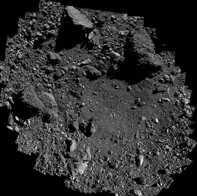 The OSIRIS-REx sample collection site, known as Nightingale, illustrates the rocky nature of asteroid Bennu and the difficulty posed for a robotic sample collector designed for small, fine-grained surface material. The targeted sample collection zone is near the center of this image. / Credit: NASA