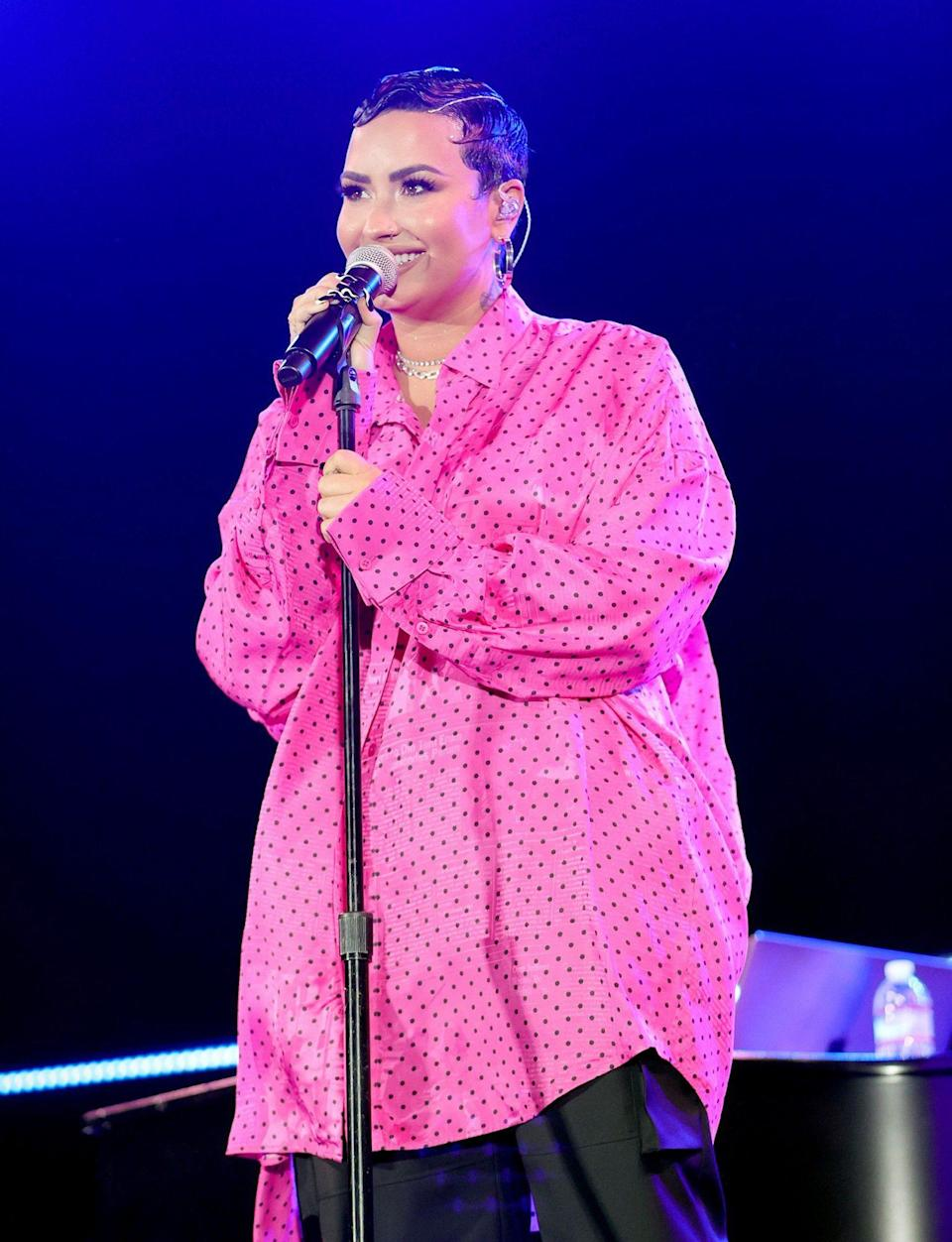 <p>Demi Lovato takes the stage during the OBB premiere of her YouTube Originals Docuseries <i>Demi Lovato: Dancing with the Devil</i> on Monday in Beverly Hills. </p>