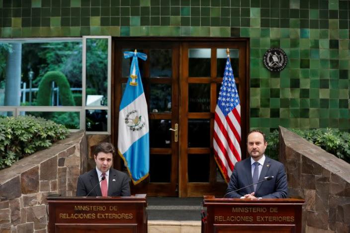 U.S. President Joe Biden's special envoy for the Northern Triangle Ricardo Zuniga holds a news conference with Guatemalan Foreign Minister Pedro Brolo, in Guatemala City