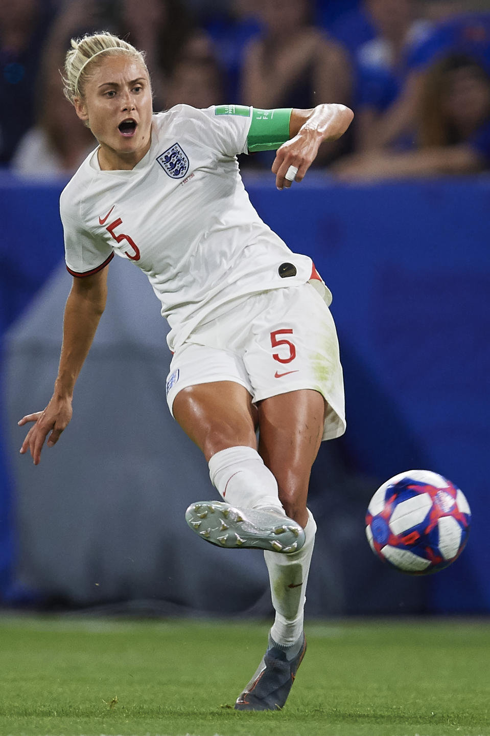 Steph Houghton of England in action during the 2019 FIFA Women's World Cup France Semi Final match between England and USA at Stade de Lyon on July 02, 2019 in Lyon, France. (Photo by Quality Sport Images/Getty Images)