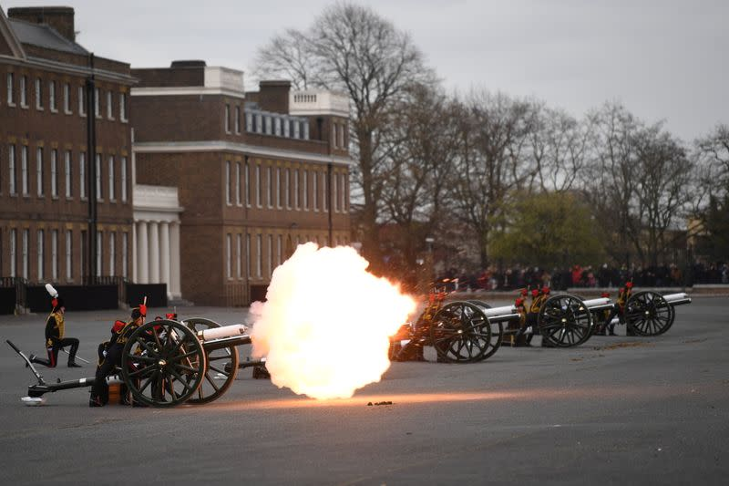Gun salute is fired to mark the death of Britain's Prince Philip, in London